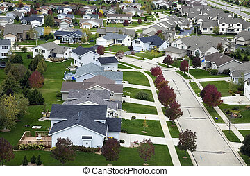 Suburban life - aerial photo. Autumnal, overcasted day.