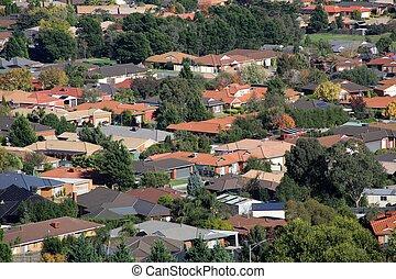 Suburban living - Suburban houses seen from high vantage...