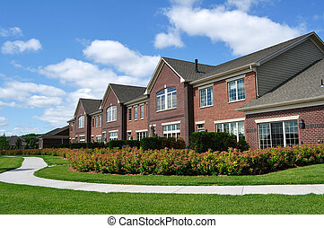 Suburban Luxury Townhomes, real estate, copy space