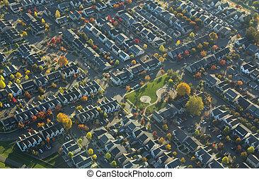 Suburban Neighborhood and Park in Autumn