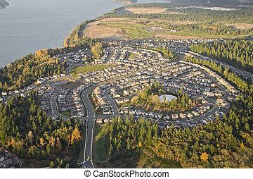 Suburban Neighborhood on Top of a Hill