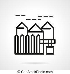 Suburban real estate simple line vector icon.