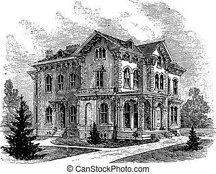 Suburban residence in the Italian style, vintage engraving.