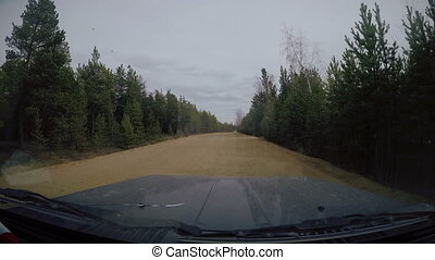 Suburban Road. View from Car windshield. Full HD Footage