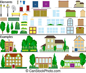 The file contains elements for drawing of suburban small houses and ready examples.