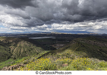 Suburban Storm - Suburban thunderstorm near Los Angeles in...