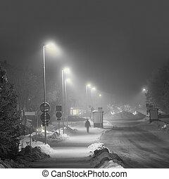 Suburban street in snowy winter evening