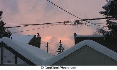 Suburban Sunset. Winter.