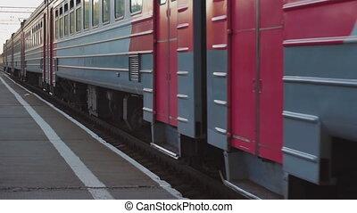 Suburban train arriving
