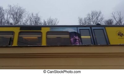 Suburban train in motion