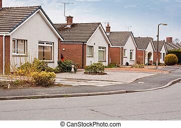suburbano, bungalows, estado de cubierta
