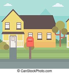 suburbano, house., plano de fondo