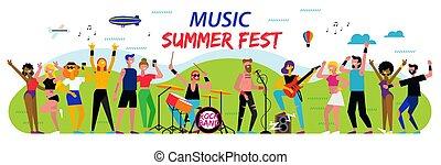 suburbano, paesaggio., vivere, estate, festival., musica, esecuzione, aria aperta, manifesto, esterno