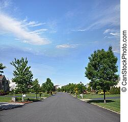 suburbano, rua, vizinhança