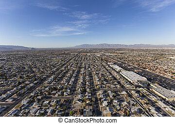 suburbano, ruas, aéreo, las vegas, nevada