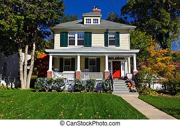 suburbano, sola casa familia, pradera, estilo, otoño