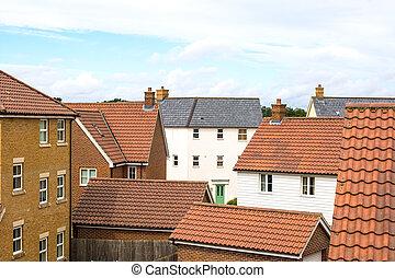 suburbia., εμπορικός οίκος , επάνω , ένα , μοντέρνος , των προαστείων , στέγαση , estate.