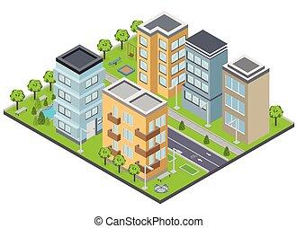 suburbia, edificios, composición