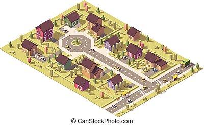 suburbio, isométrico, vector, bajo, poly