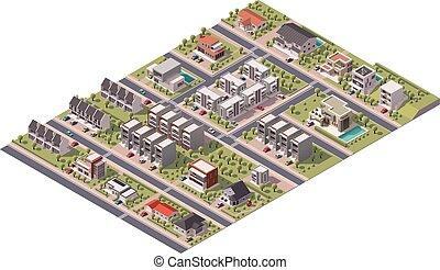 suburbio, isométrico, vector, mapa