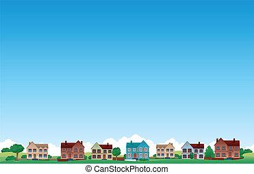 suburbio, plano de fondo