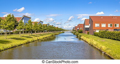 suburbio, río, moderno, neigborhood
