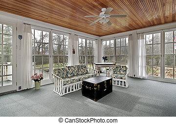 suburbios, paneled, madera, techo, pórtico