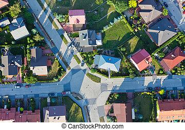 suburbios, vista, aéreo, ciudad