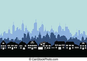 suburbios, y, urbano, ciudad