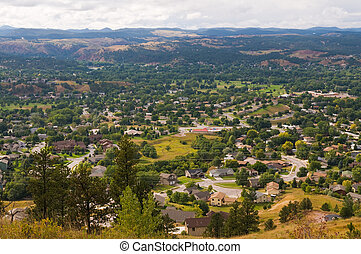 Suburbs - Looking down on the western suburbs of Rapid City,...