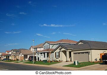 new middle class suburban neighborhood