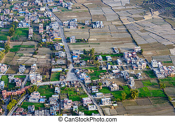 Suburbs of Pokhara aerial view