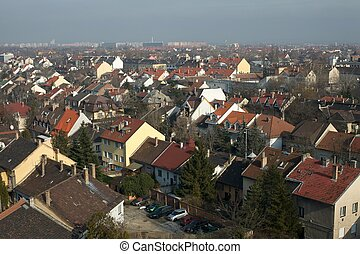 Suburbs - Suburban area of a town viewed from above