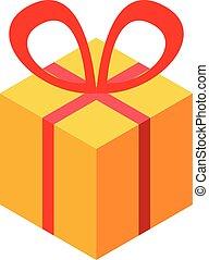 subvención, estilo, caja obsequio, icono, isométrico