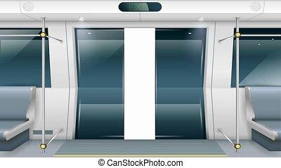 Subway car doors - Sliding doors of modern subway car with...