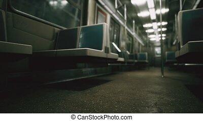 subway car in USA empty because of the coronavirus covid-19 ...