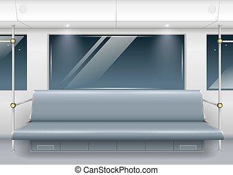 Subway car Interior - Interior of a modern subway car with...