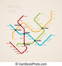 (subway), carte, concept, transport, métro, conception,...