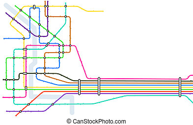 Subway - Editable vector map of a generic subway system with...
