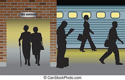 SUBWAY - silhouettes of people standing, walking in metro...
