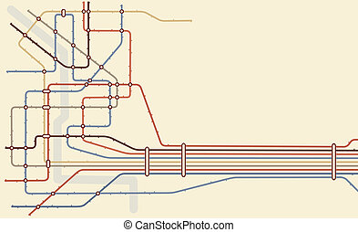 Editable vector map of a generic subway system with copy space