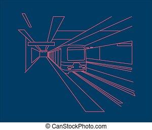 Subway - Hand drawn vector illustration or drawing of a...