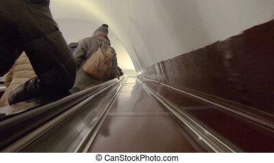 subway., eskalator, ludzie