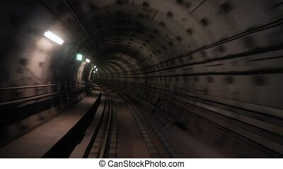 Subway journey view time lapse - Subway journey view in dark...