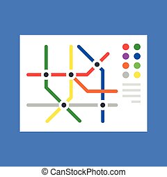 Subway map, metro map. Modern flat design concept. Vector illustration