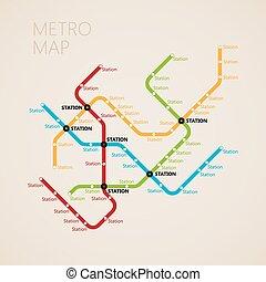 (subway), mappa, concetto, trasporto, metro, disegno, template.
