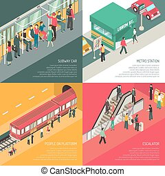 Underground metro subway station concept 4 isometric icons square with passengers on escalator and platform isolated vector illustration