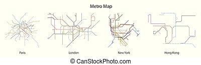 subway., metro, pretas, metrô, icon., ilustração, isolado, jogo, ícone, vetorial, cidade, experiência., linha, mapa, branca