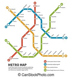 Subway, metro vector map. Template of city transportation scheme