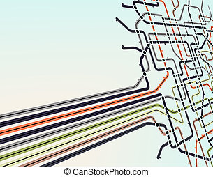 Subway network - Abstract editable vector background of a...